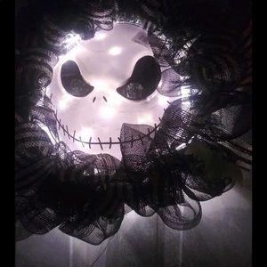 Lighted Halloween Jack Skellington wreath